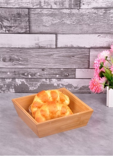 Bayev  Ahşap Bambu Kare Küçük Ekmek Sepeti (P/Ahs-700281) Renkli